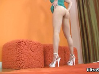 Sexy blonde babe on high heels gets part3