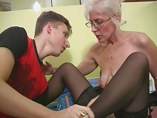 Glasses Mom Old and Young SaggyTits Stockings