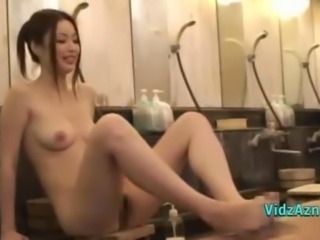 Asian Girl Washing Each Other Bodies With Guy Giving Footjob And Handjob In...