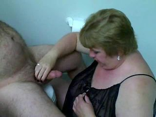 Amateur BBW Cumshot Handjob Mature Older Toilet Wife