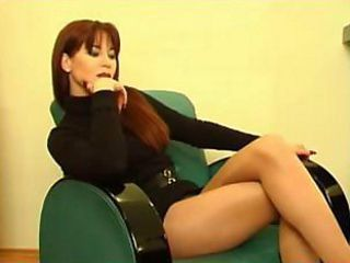 Perfect red-haired milf in sexy dress gets excited after a glass of wine