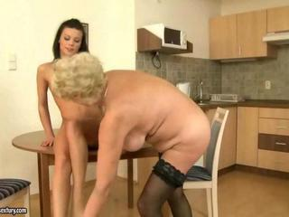 Kitchen Lesbian Old and Young Stockings