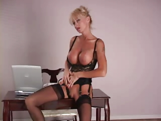 Big Tits MILF Solo Stockings