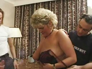 British European Mature Old and Young Threesome