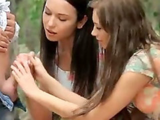 Handjob Outdoor Teen Threesome