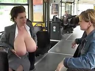 Big Tits Bus MILF Natural Public