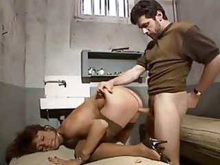 French MILF in stockings DP in prison.