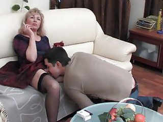 Clothed Mature Mom Old and Young Russian Smoking Stockings