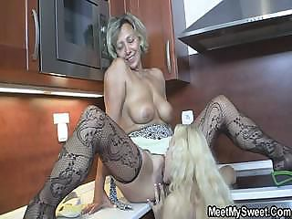 Kitchen Lesbian Licking Mature Mom Old and Young Stockings