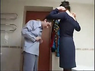 mature lady having fun with young boy