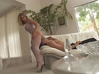 Amber Michaels Double Penetration in Fishnet Pantyhose