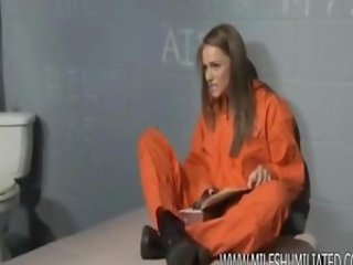 Prison MILf hiding things in her pussy