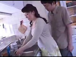 Asian Japanese Kitchen MILF Mom Old and Young