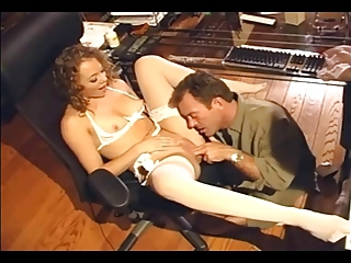 Sex In White Lingerie And Sheer Stockings
