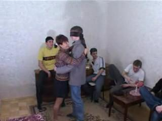 Russian Mature brunette Mom Gangbang