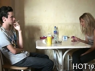 Amateur Girlfriend Kitchen Smoking Teen