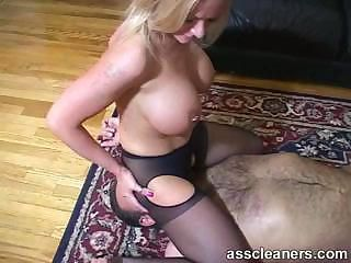 Big Tits Facesitting Licking MILF Piercing Pantyhose