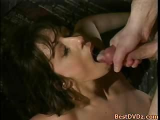 The Tender Busty Brunette Teases Her Clit While Being Fucked
