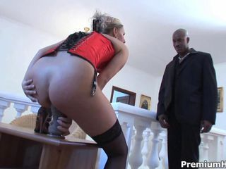 Blonde from Europe Patricia rubbing her muff for first black monster cock