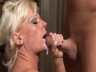 Cumshot European German Mature Mom Swallow