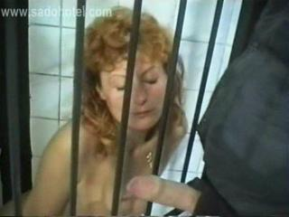 Horny Slave With Tiny Tits Sitting In A Jail In A Du...