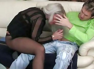 Blowjob Clothed Mature Mom Old and Young Pantyhose Russian