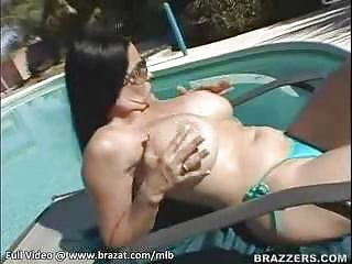 Big Tits Bikini Glasses MILF Outdoor Panty Pool