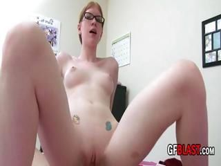 Redhead with glasses blows him and then gets on for a ride