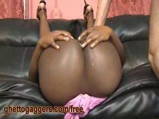 Dark Skinned Ho Gets Two White Rods In Her Ass
