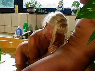 Bathroom Blowjob European German Mature Mom Old and Young