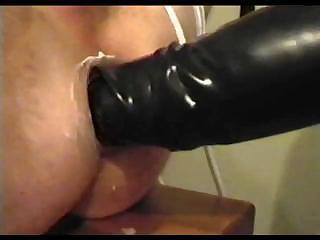 Outraged Mistress Oils Male`s Asshole And Rams Black Tool Up There