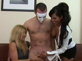 Vixens Try To Jerk Off As Many Dicks As They Can
