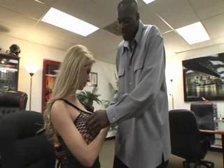 Interracial MILF Office Pornstar