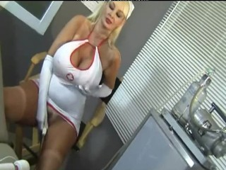 Big Tits Masturbating MILF Nurse Pornstar Silicone Tits Uniform