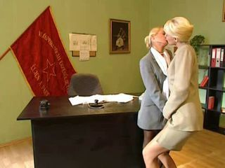 Blonde Kissing Lesbian MILF Office Secretary