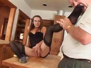 Charming freshie lets old man taste her beautiful feet and then sucks him off