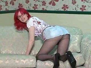 Amateur Ass British European Glasses Pantyhose Redhead Skirt Teen