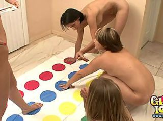 Five college girls playing naked twister _: amateur