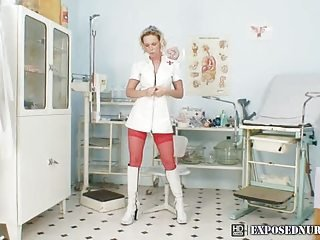 Gabriela wearing nurse uniform pussy gaping and fingering