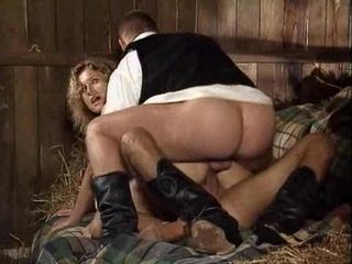 Busty milf DPed hard in a shed