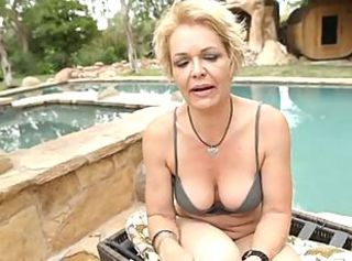 Lingerie MILF Outdoor Pool