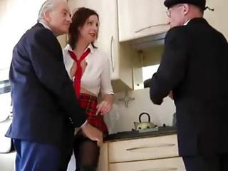 Daddy Kitchen MILF Old and Young Student Uniform