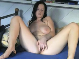 Sexy Busty Amateur play with her shaved Pussy