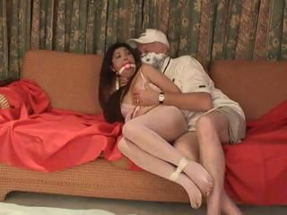 Asian girl gets abducted and tied up for this dude to play with