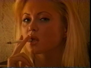 Perfect Blonde Smokes on the Bed
