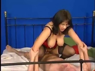 Big Tits European German Glasses MILF Natural Riding Stockings
