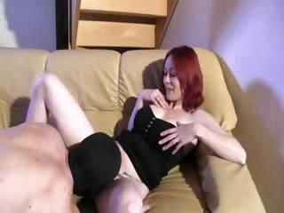 Skinny Red-haired Beauty With Big Boobs Spreads Her Legs Wide For Cock