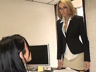 Babe Glasses Office Secretary Threesome