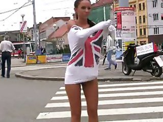 Hot czech brunette nude in public