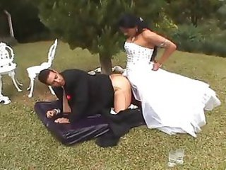 Shemale bride fucks her husband in the garden